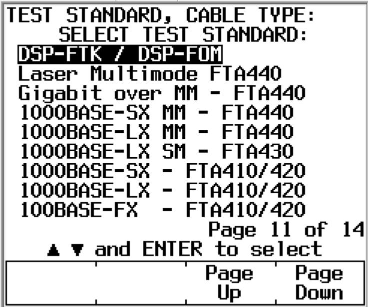 DSP FTA Fiber Test Standards