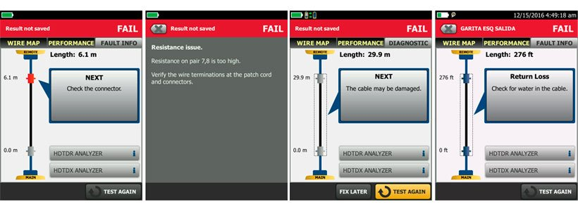 Fault Information Feature Screen