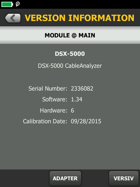 DSX 5000 Module Version Information Screen