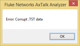 DSX AxTalk Analyzer Corrupt Data Error