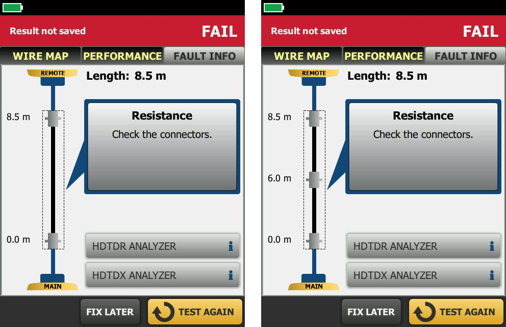 DSX CableAnalyzer Fault Info Screen