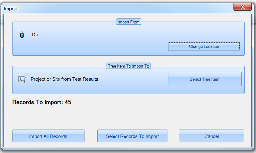 LinkWare PC Import Records Screen