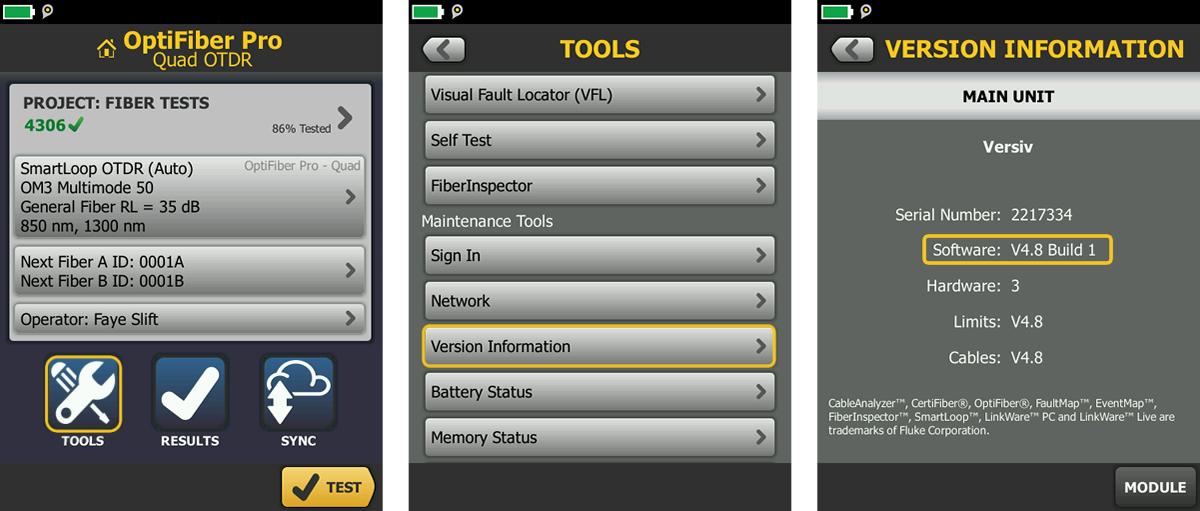 OptiFiber Pro Software Version Verification