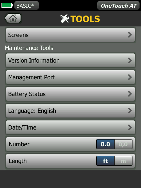 OneTouch AT Maintenance Tools Screen