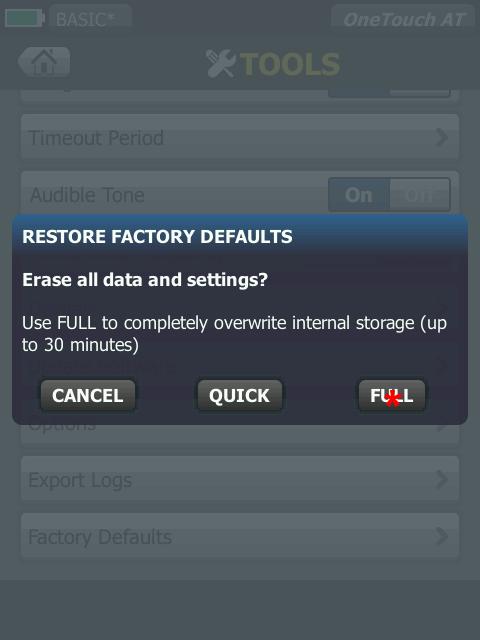 Restore Factory Defaults Full Screen