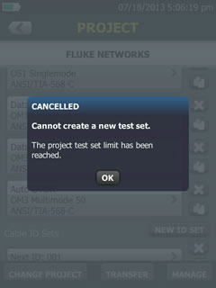 Cancel Creating New Test Set