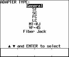 Selected General Adapter Type