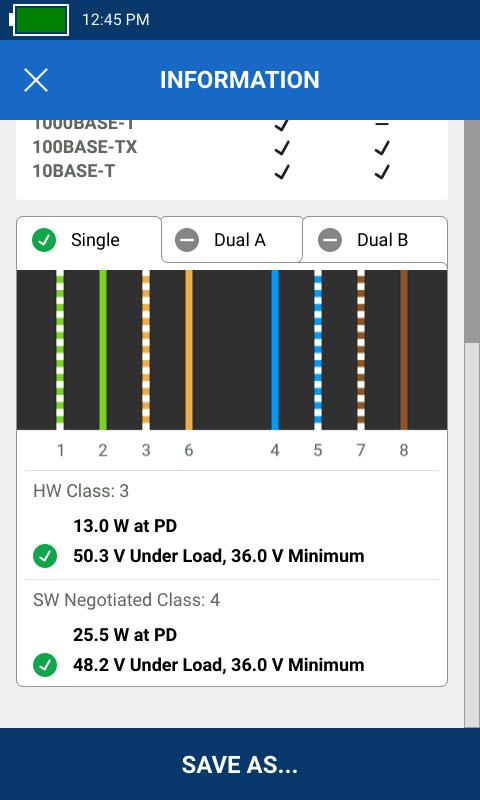 Captura de comprobación de carga de PoE en la pantalla del LinkIQ