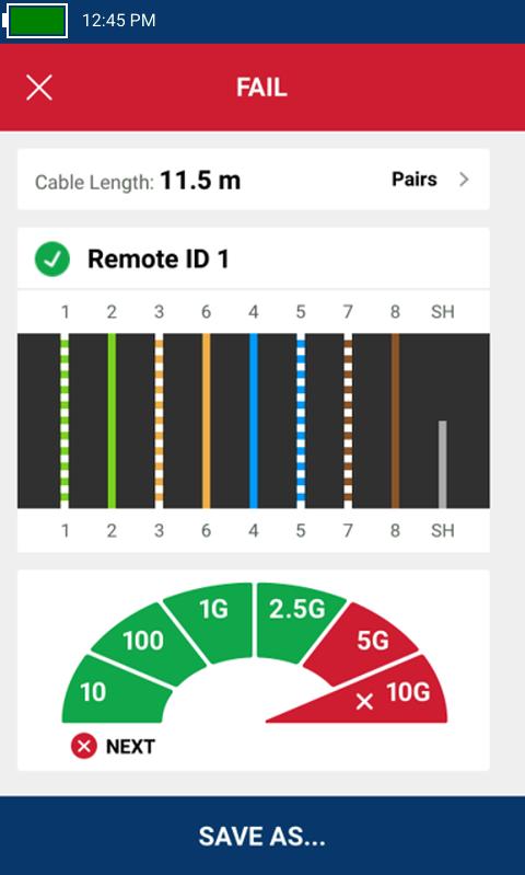 La comprobación de cableado con unidad remota conectada muestra el número de identificación remota 1