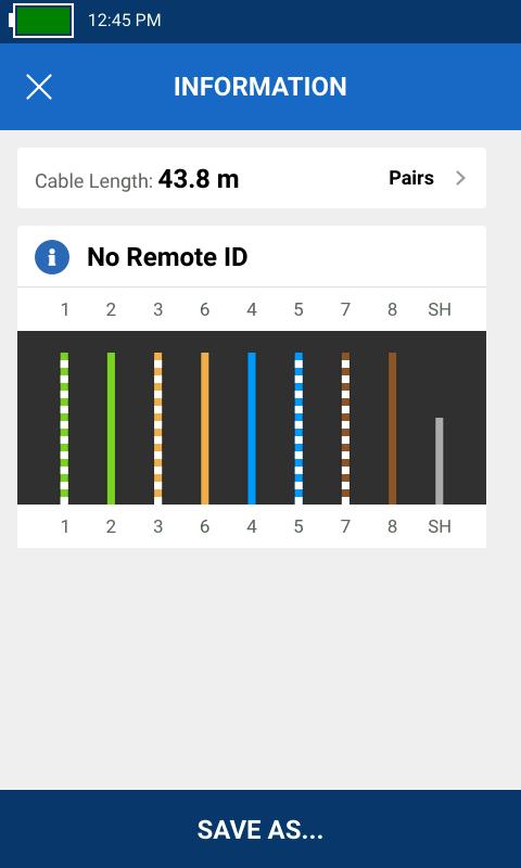 La comprobación de cableado sin unidad remota muestra la longitud y el emparejamiento de cada cable