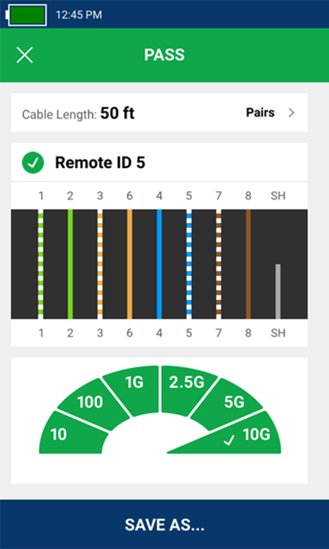 Le test de câble avec connexion à distance affiche le numéro d'identifiant à distance 5