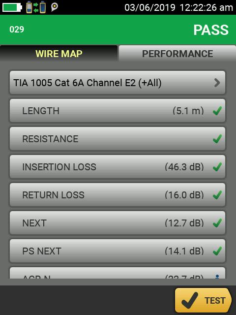 Resultados de comprobación satisfactorios para un enlace de categoría 6A conforme a TIA 1005 con límites E2.