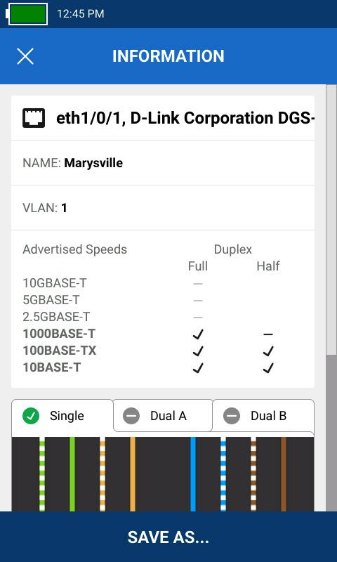 Se muestran los datos de la red, incluyendo el puerto del switch, el nombre, la VLAN y los ajustes de velocidad