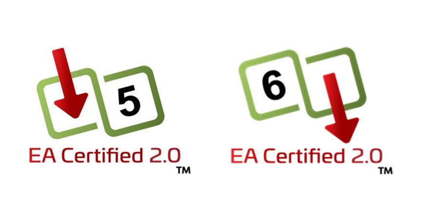Ethernet Alliance-Markierungen für versorgte Geräte (links) und Geräte für die Spannungsversorgung (rechts)