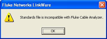 LinkWare Incompatible Error Message