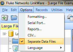 Highlighted Separate Data Files Option Screen