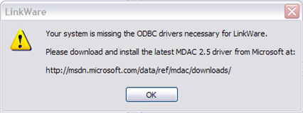 LinkWare ODBC Drivers Necessary Error Message