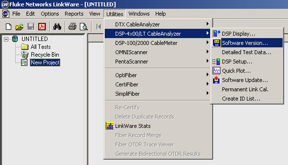 Highlighted LinkWare PC Software Version Menu