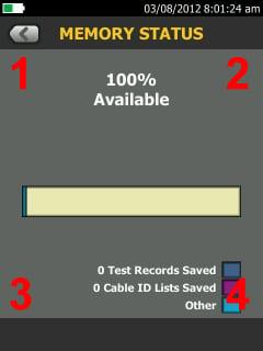 Versiv TFS Speicherstatusbildschirm