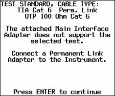 DSP-400 CableAnalyzer Test Standard Not Supported Message