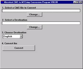 Covert button in Microtest CMS Conversion Program