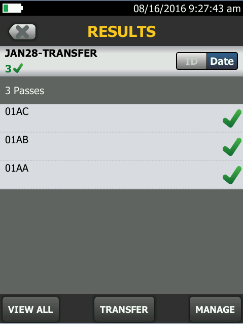 Project Transfer result screen